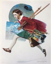 NORMAN ROCKWELL Original Lithograph Girl Running with Wet Canvas Signed 40/200