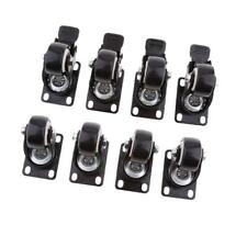 8PC Heavy Duty Swivel Casters Wheels Castor Roller Bearing Wheel Brake Black