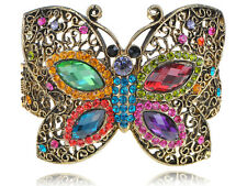 Fashion Crystal Rhinestone Colorful Bead Butterfly Bracelet Bangle Cuff Jewelry