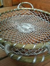 "Metal Art Aluminum & Brass Basket Large 13"" Woven weaved Bowl Wrapped Handles"