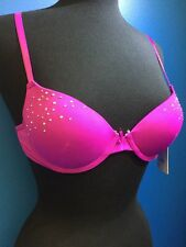 32A Bra New NWT Fashion Rhinestones Magenta Fuchsia Boost Dark Pink PETITE
