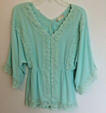 Altar'd State Blouse Lace Trimmed Mint Green Batwing  BOHO Top Shirt XS