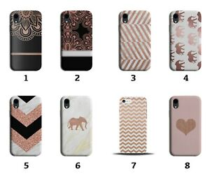 Rose Gold Phone Case Cover White Marble Elephants Glitter Floral Henna 8106i
