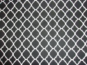 CLEARANCE 6 YARDS Black & White Quatrefoil Crafts Quilting Cotton Fabric