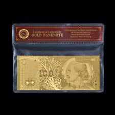 WR Argentinien Eva Peron 100 Peso Banknote Goldfolie Geld Bill Geschenk im Ärmel