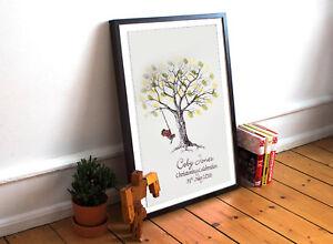Large Christening Fingerprint Tree- Personalised Little Boy On Swing
