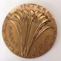 Vintage Bronze Medallion Floralies Internationales Paris 1959
