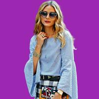 ZARA Blue Top Striped Hip Length Shirt Olivia*Palermo Ladies XS S M L 7767/041