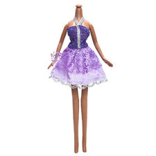 Evening Dress for Monster High Dolls  Toy Fashion Cloth Purple Short Skirt E4z