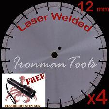 """4PK 14"""" 12mm Segment Laser Welded Asphalt Green Concrete Diamond Blade - Best"""
