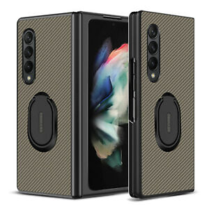 For Samsung Galaxy Z Fold 3 5G Ring Holder Folding Case Cover / Screen Protector