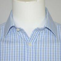 THOMAS PINK Blue Plaid Cotton Dress Shirt Sz 15 - 33 French Cuff