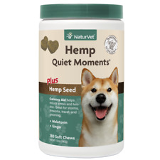 180ct NaturVet Hemp Dog Quiet Moments Calming Aid for Dogs Stress & Tension Soft