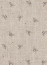 Roman Blind Peony and Sage Mini Bees Grey Linen Interlined Mechanised Track MTM