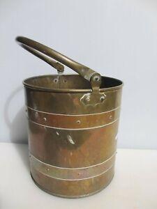 Victorian Brass Coal Bucket Bin Scuttle Planter Plant Antique Old Copper Straps