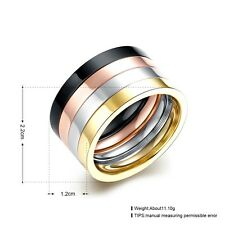 Multi Color Titanium Steel Rings Gold Silver Rose Black Jewelry Size 7-10