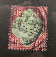 1892 Great Britain SC #117 Perfin  QUEEN VICTORIA  used stamp