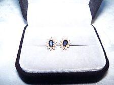 14K Pair of Pierced Diamond Sapphire Earrings w/Marquee Sapphires & 20 Diamonds