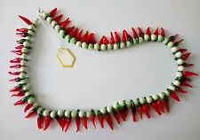 Genuine howlite and glass red chilli peppers18 inches (45 cm) necklace