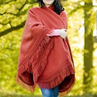 BABY ALPACA WOOL PONCHO HANDWOVEN CAPE WRAP SHAWL FRINGE ALL SEASONS ONE SIZE