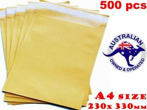 500x Yellow Business Envelope 230x330mm Premium #04 A4 Kraft Laminated Paper AU