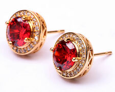 18K Yellow Gold Filled - 7mm Round Ruby Topaz Zircon Hollow Women Stud Earrings