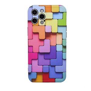 Pellicola+Custodia cover per Apple iPhone 12 Pro Max COLORFUL blocchi colorati