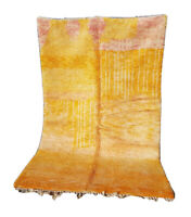 Moroccan Handmade Azilal Rug Wool Berber Tribal yellow 8ft 2''x 5ft 1/Aspen