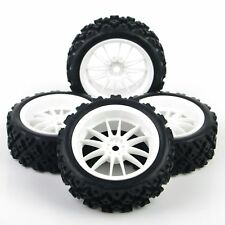 4X For RC 1/10 Rally Rubber Tires Wheel Rim Racing Off Road Car PP0069+PP0487