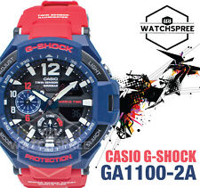 Casio G-shock GRAVITYMASTER Dual Time 200m Blue and Red Resin Watch Ga1100-2a
