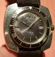VINTAGE MENS HERBST AGS 17J SWISS HYDE PARK DIVER WATCH RUNS GREAT