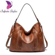 Women Female Handbags Shoulder Bags Vintage Hoho Large Bucket Leather Bags Tote