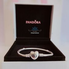 New Genuine Pandora S925 Silver Moments Heart Snake Chain Bracelet 590719 RRP£55