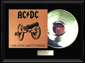 AC/DC  FOR THOSE ABOUT TO ROCK  WHITE GOLD PLATINUM TONE VINYL RECORD NON RIAA