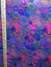 BLUE PINK MULTICOLOR African Wax Print 100% Cotton Fabric (44 in.) Sold BTY