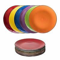 Teller Geschirr Set 6 tlg 27cm Tafel große Essteller Speiseteller Porzellan bunt