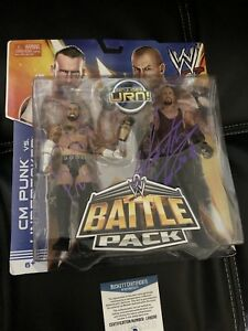 Undertaker & CM Punk SIGNED WWE Two Pack Figure Set Super Super RARE ! Beckett