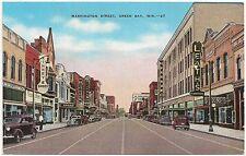 Washington Street in Green Bay WI Postcard