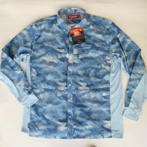 Simms Size 2XL Intruder BiComp LS Shirt Vented Snap Button Fishing New w Defect