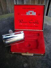 Vtg Gillette Travel Gold Tone Metal Case Razor Blade Caddy Mid Century Vanity