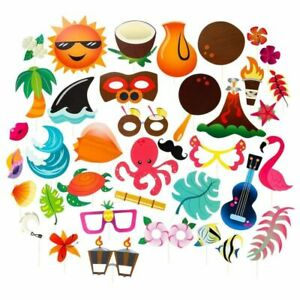 72-Pack Luau Tiki Parties Hawaiian Themed Party Photo Booth Props Selfie Props