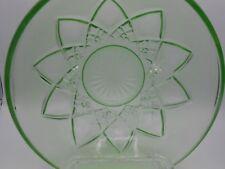 "Vintage Hazel Atlas Green Depression Glass 8"" Serving Bowl Diamond Arches"