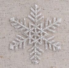 "Medium Silver Snowflake 1.75"" Christmas Iron on Applique/Embroidered Patch"