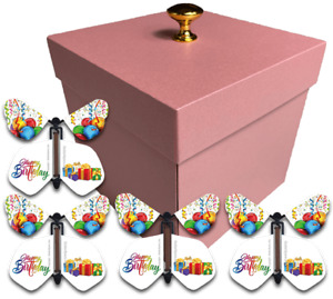 Pink Exploding Butterfly Box With Birthday Flying Butterflies