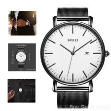 Burei Men Business Casual Minimalist Watch Quartz Ultra Thin Date Mesh Stainless