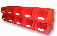 NEW PLASTIC PARTS STORAGE BINS BOX SET B315 - 10xTC3 RED