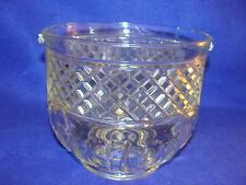 MID-CENTURY GLASS ICE BUCKET-MISSING HANDLE-DIAMOND PATTERN-UTENSIL HOLDER