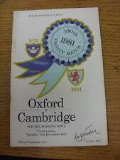 Programma di rugby 08/12/1981: Università di Oxford V Cambridge University [a T