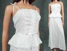Vintage Prairie Girl Sun Dress XS White Sleeveless Long Hippie Wedding Gown