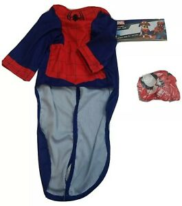 "Pet Costume Marvel Spiderman Dog Costume Size L 20"" Chest 2-Pc Shirt Hood New"
